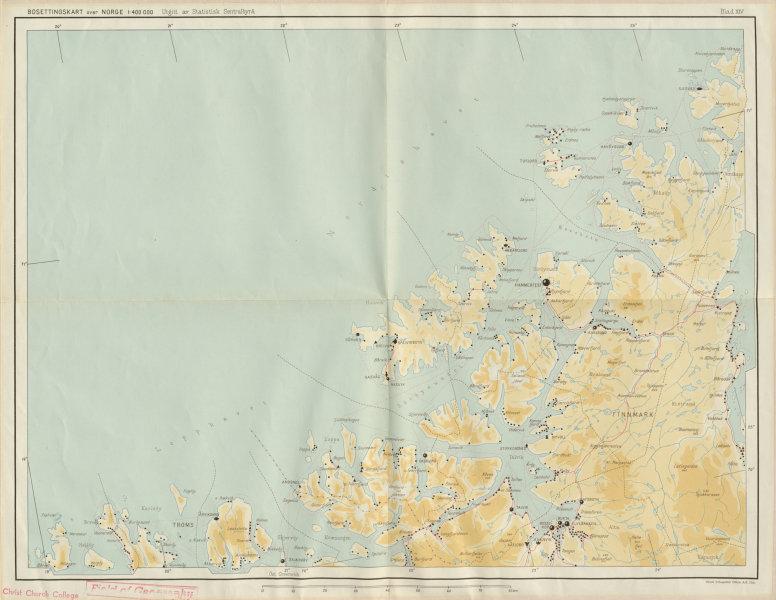 Associate Product Norway Norge settlements. Hammerfest Alta. Finnmark Troms 48x62cm 1950 old map