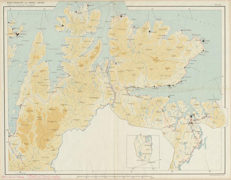 Associate Product Norway Norge settlements. Vardö Vardo Kirkenes. Finnmark. 48x62cm 1950 old map