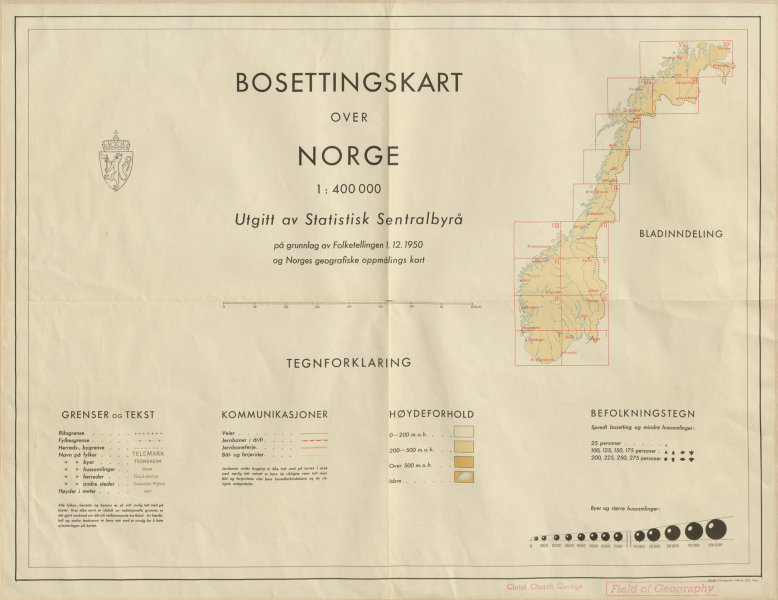 Associate Product Norway Norge settlements index map. Statistik Sentralbrya 48x62cm 1950 old