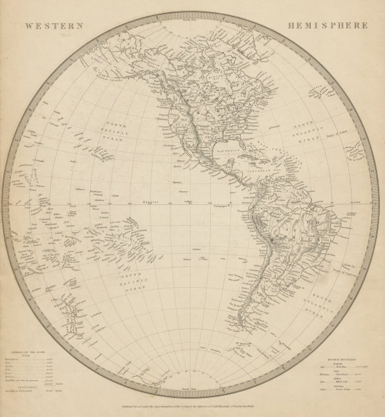 Associate Product WESTERN HEMISPHERE. Americas. Mexican Texas. Pacific New Zealand. SDUK 1844 map