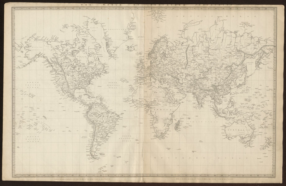 Associate Product WORLD ON MERCATOR'S PROJECTION. Texas shown as Mexican. SDUK 1844 old map