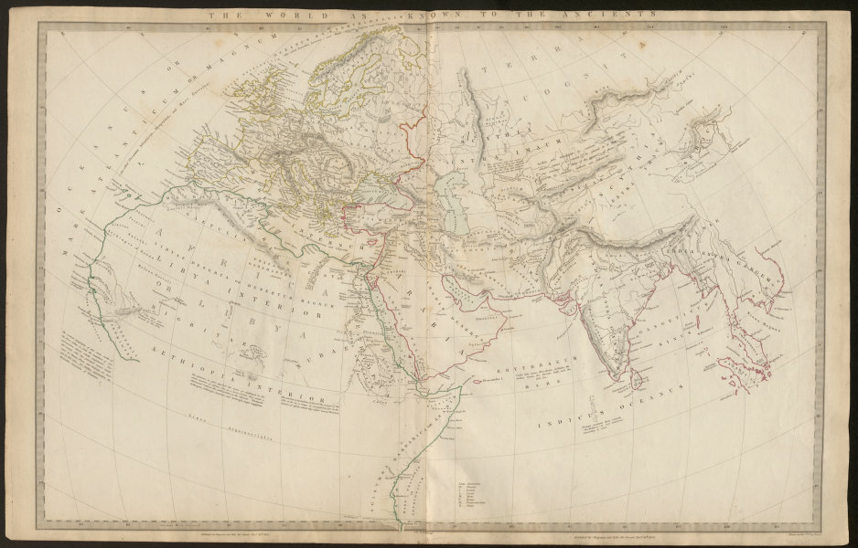 Associate Product THE WORLD AS KNOWN TO THE ANCIENTS. Herodotus Ptolemy Hanno Pliny. SDUK 1844 map