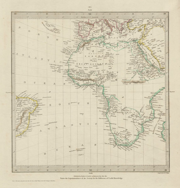 Associate Product AFRICA.South Europe Brazil.Gnomonic Projection.Mountains of Kong SDUK 1844 map