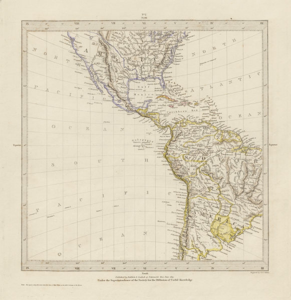 Associate Product AMERICAS on Gnomonic Projection. Shows Texas as part of Mexico. SDUK 1844 map