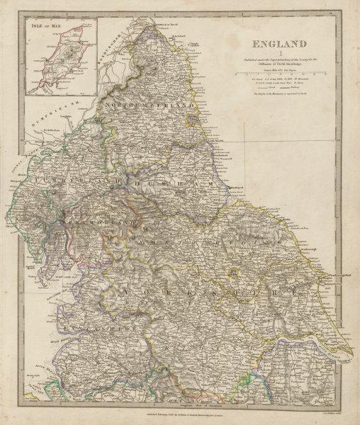Associate Product ENGLAND NORTH.Yorkshire Cumbs Lancs Durham Northumbs;Isle of Man SDUK 1844 map