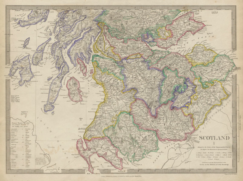 Associate Product SCOTLAND SOUTH. Shows castles & kirks. Inset former county names SDUK 1844 map
