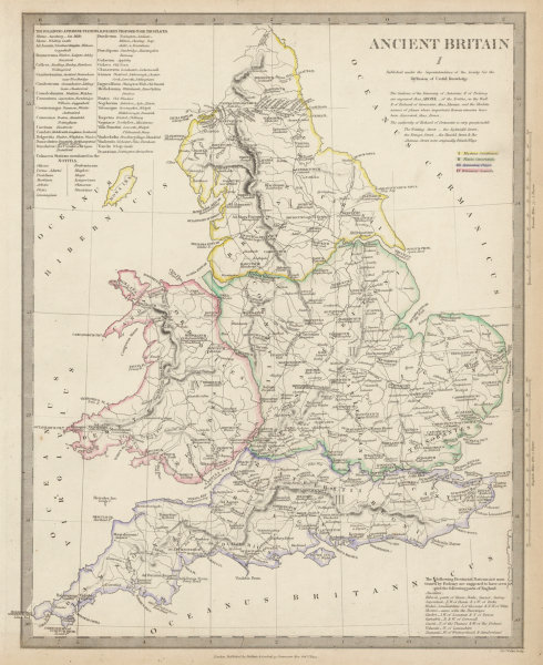 Road Map Of England And Wales With Towns.Details About Ancient Britain England Wales Roman Road Town Names Ptolemy Sduk 1844 Map