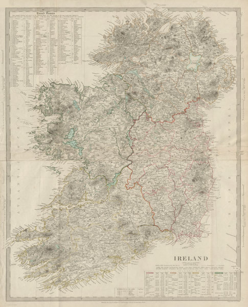 Associate Product IRELAND on 2 sheets conjoined 62x50 cm. Round towers Cloigthithe. SDUK 1844 map