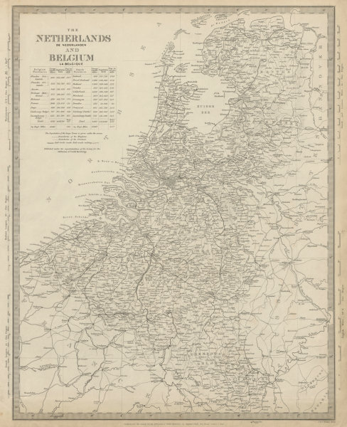 Associate Product NETHERLANDS & BELGIUM. Railways in use & under construction. SDUK 1844 old map