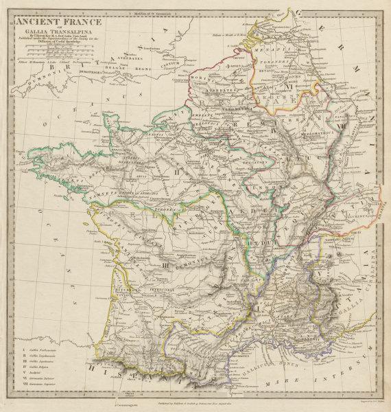 Associate Product ANCIENT ROMAN FRANCE GAUL. Gallia Transalpina. Roman names roads SDUK 1844 map
