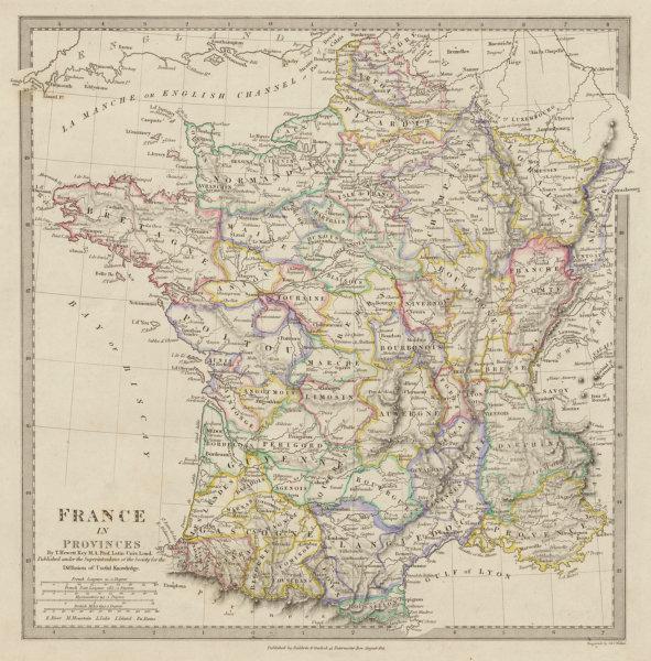 Associate Product FRANCE with pre-revolutionary Provinces. Original hand colour SDUK 1844 map