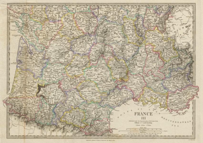 Associate Product FRANCE STH.Aquitaine Pyrénées Provence Languedoc Rhône Auvergne SDUK 1844 map