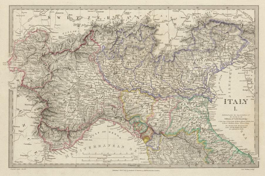 Associate Product ITALY.Sardinian States,Venetian Lombardy,Parma,Modena,Bolognese SDUK 1844 map