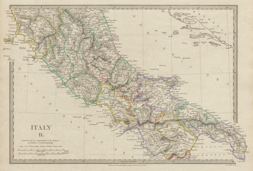 ITALY SOUTH.Naples Stato Pontifico Toscana.Original hand colour SDUK 1844 map