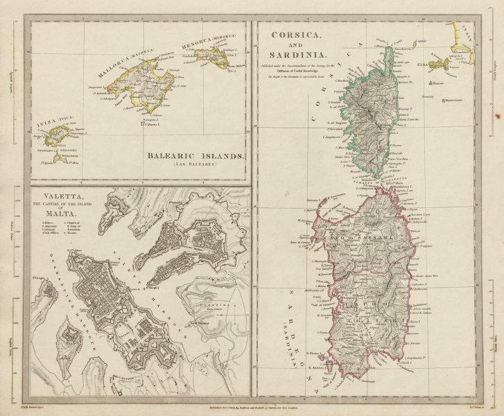MEDITERRANEAN.Corsica Sardinia;Balearics Baleares;Valletta,Malta SDUK 1844 map