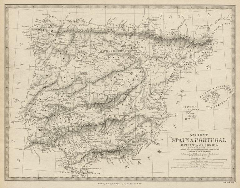 Associate Product HISPANIA IBERIA. Ancient Portugal & Spain. Roman names & roads. SDUK 1844 map