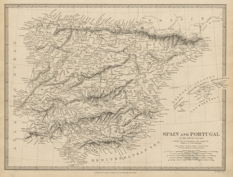 Associate Product IBERIA. Spain & Portugal showing provinces. Philip Smith UCL. SDUK 1844 map