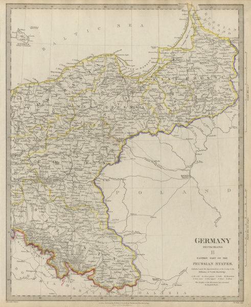 GERMANY DEUTSCHLAND.Eastern Prussian States.Silesia;Pomerania SDUK 1844 map