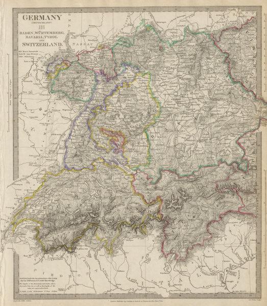 Associate Product GERMANY, SWITZERLAND & AUSTRIA. Baden Württemberg Bavaria Tyrol. SDUK 1844 map