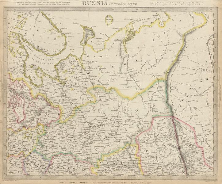 NORTHERN RUSSIA Arkhangelsk Vologda VIatka Perm Olontez Iaroslavl SDUK 1844 map