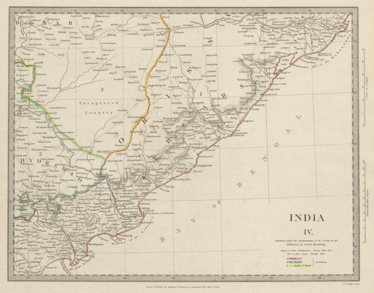 Associate Product INDIA. Cicars. Mouths of the Godavery. Berar. Hyderabad. Orissa. SDUK 1844 map