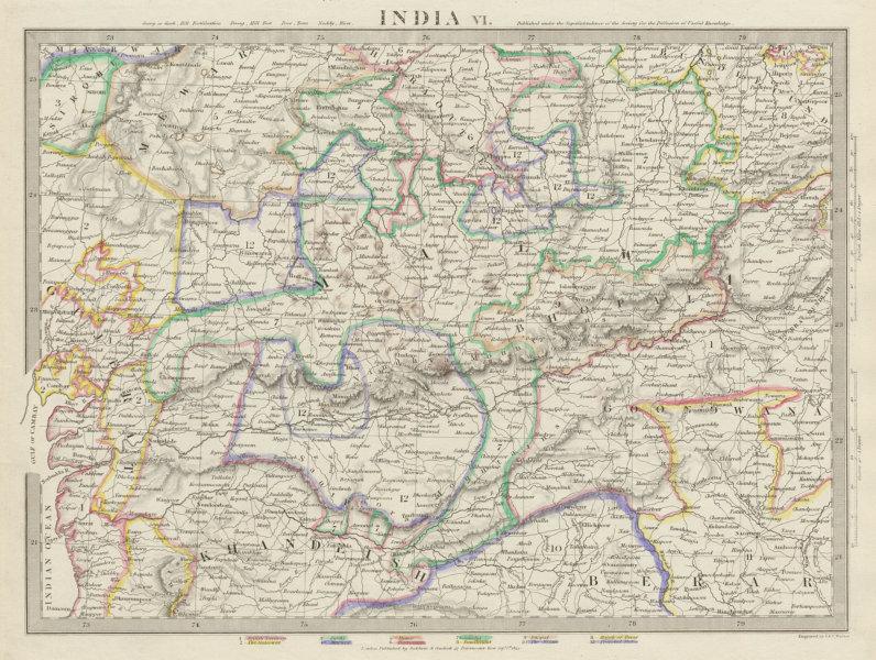 Associate Product INDIA.Bundelkhand to Khandeish Berar.Gujerat. Goondwana Bhopal SDUK 1844 map