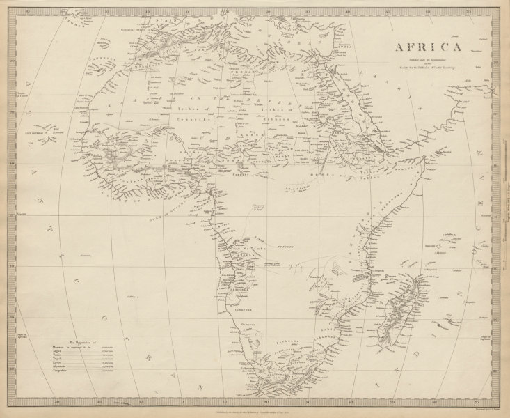 Associate Product AFRICA map pre-dating much exploration. Mountains of Kong.Population SDUK 1844