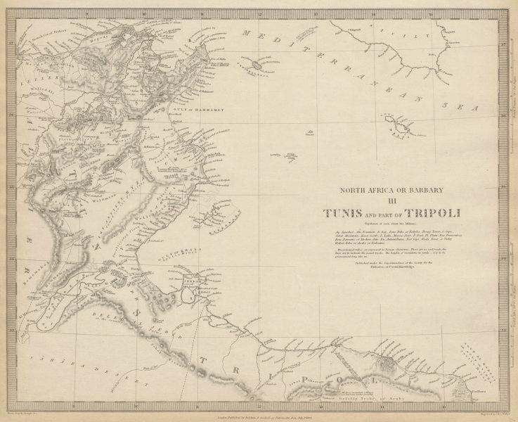 Associate Product TUNISIA & LIBYA. North Africa or Barbary III Tripoli Gulf of Gabes SDUK 1844 map