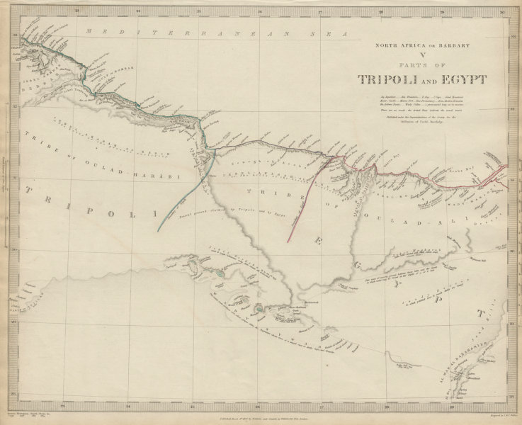 Associate Product NORTH AFRICA or BARBARY. Parts of Tripoli (Libya) & Egypt. Tribes. SDUK 1844 map