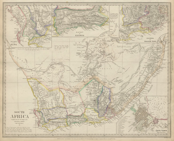 Associate Product SOUTH AFRICA. Cape Town plan. District of George. Graham Town. SDUK 1844 map