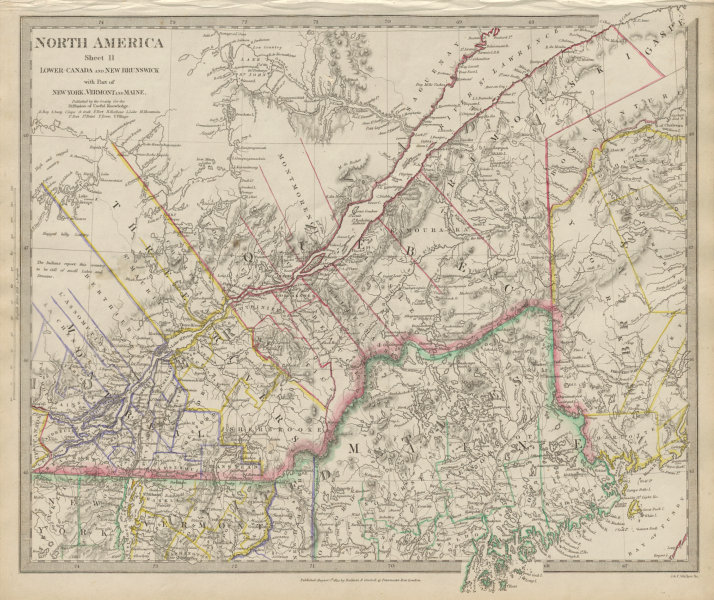 Map Of New York Rivers.Details About Quebec Quebec Canada Montreal Three Rivers Maine New Brunswick Sduk 1844 Map