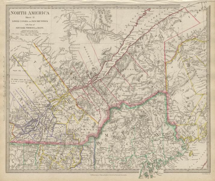 Associate Product QUEBEC. Québec. Canada.Montreal.Three Rivers.Maine.New Brunswick SDUK 1844 map