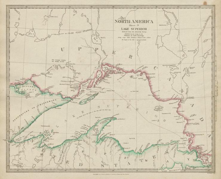 Associate Product LAKE SUPERIOR.Canada USA Ontario Chippewa Michigan.Indian tribes SDUK 1844 map
