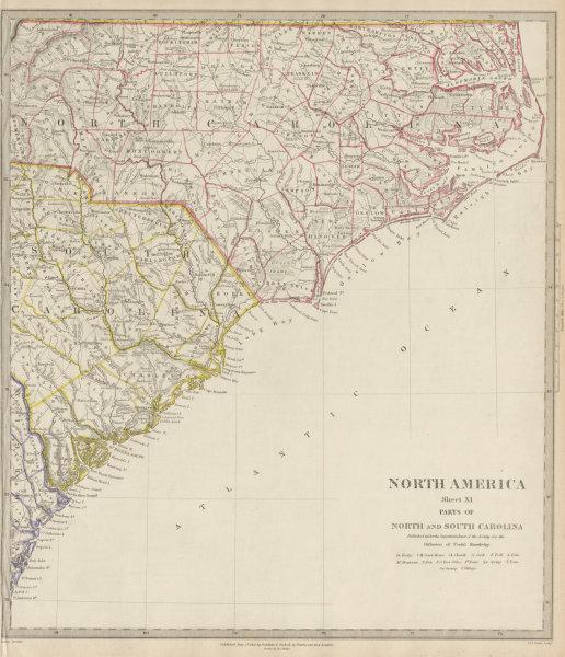 Associate Product USA. Coastal North & South Carolina. Charleston Cape Hatteras. SDUK 1844 map