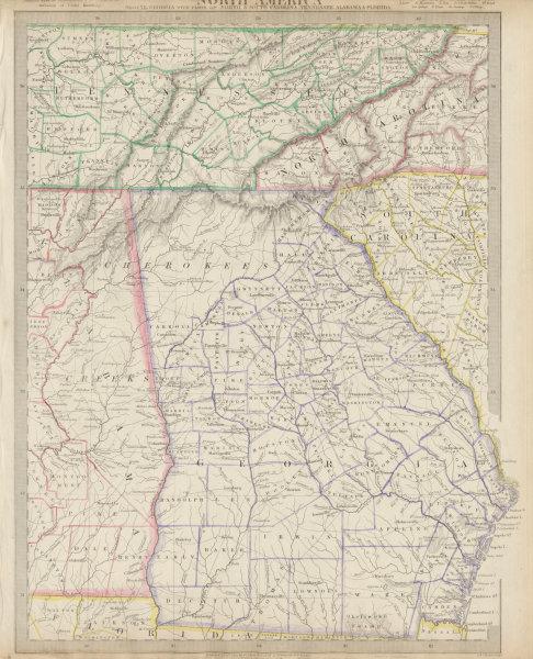 Associate Product USA. Alabama Georgia Cherokee & Muscogee villages. TN SC NC FL. SDUK 1844 map