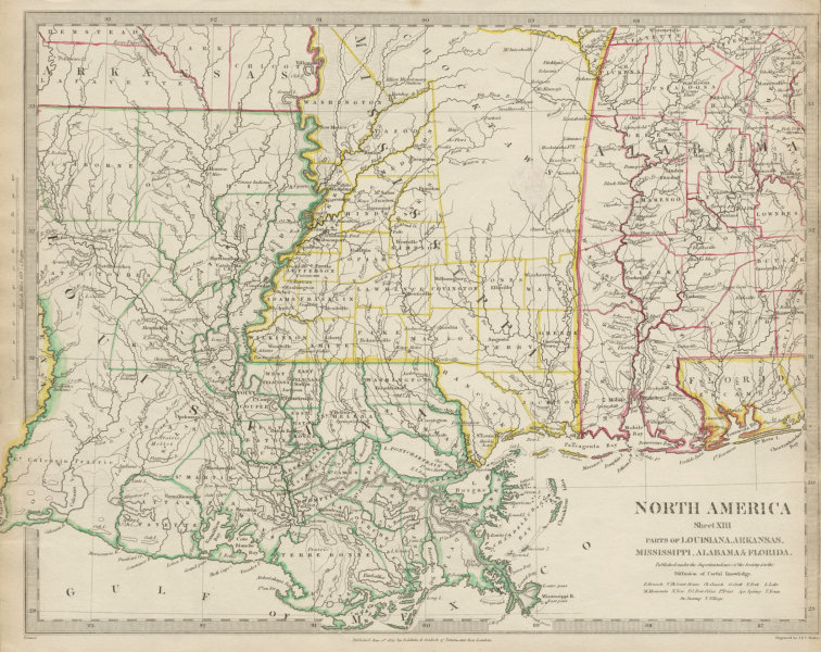 Map Of America Gulf Coast.Details About Us Gulf Coast Louisiana Mississippi Alabama Fl Indian Villages Sduk 1844 Map
