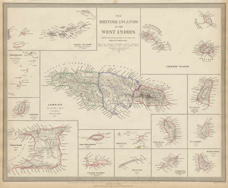 BRITISH WEST INDIES Jamaica Trindad Antilles Virgin Cayman Islands SDUK 1844 map