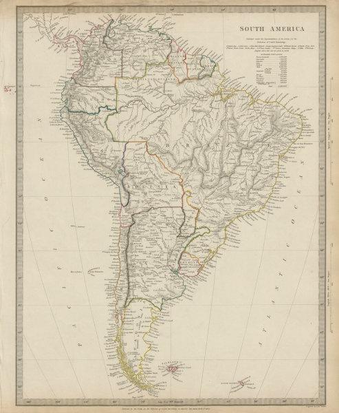 Associate Product SOUTH AMERICA Brazil Chile Peru Bolivia Patagonia La Plata Ecuador SDUK 1844 map