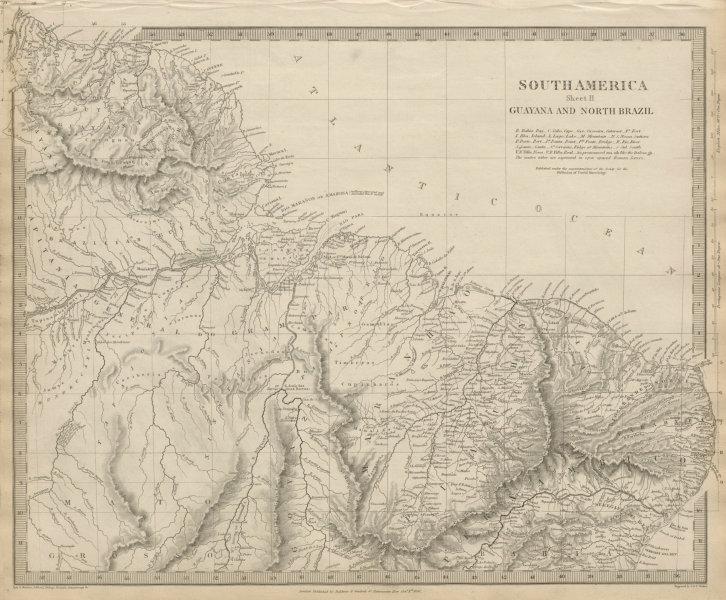 AMAZONIA showing Indian tribes. Guyana Surinam Brazil. Recife. SDUK 1844 map