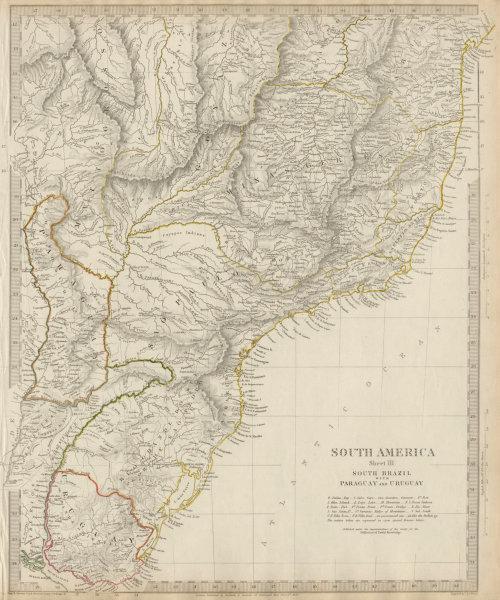 Associate Product SOUTH BRAZIL, PARAGUAY & URUGUAY. Minas Gerais Sao Paolo Bahia. SDUK 1844 map