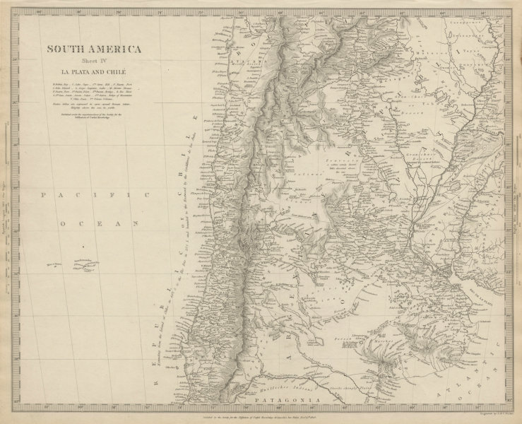 Associate Product SOUTH AMERICA.La Plata and Chilé.Chile Argentina Uruguay Bolivia SDUK 1844 map