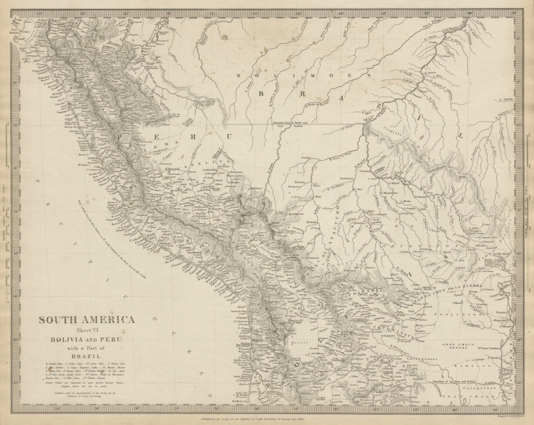 Associate Product PERU, BOLIVIA & part of Brazil. Indian tribes. Bolivian Litoral. SDUK 1844 map