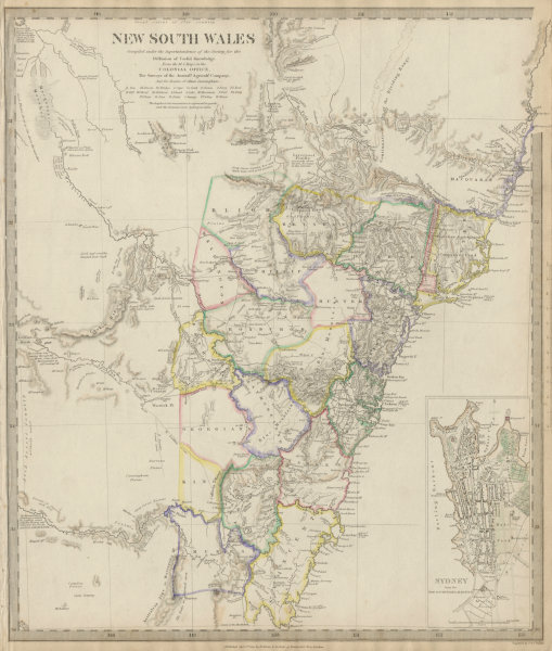 Associate Product NEW SOUTH WALES based on Cunningham routes. Inset Sydney plan. SDUK 1844 map
