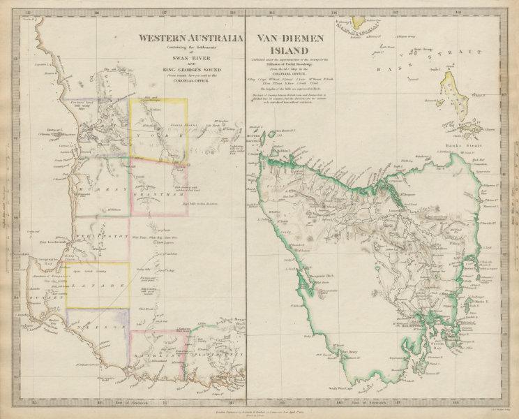 Associate Product AUSTRALIA. Western Australia & Van Diemen's Land (Tasmania). SDUK 1844 old map