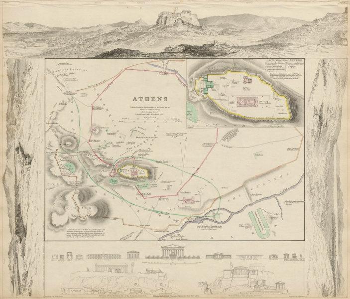 Associate Product ANCIENT ATHENS. Αθήνα antique town city map plan. Acropolis. SDUK 1844 old
