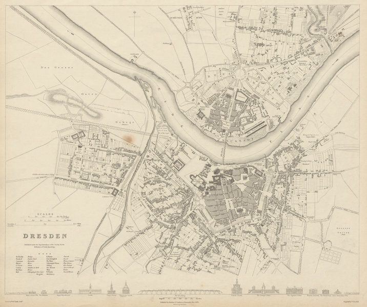 Associate Product DRESDEN antique town city map plan. Friedrichstadt Altstadt Neustadt SDUK 1844