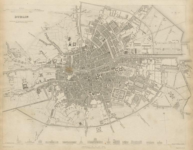 DUBLIN antique town city map plan. Key buildings profiles. SDUK 1844 old