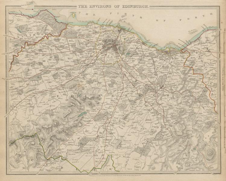 Associate Product EDINBURGH & ENVIRONS. Pentland Hills. Linlithgow Leith Haddington. SDUK 1844 map