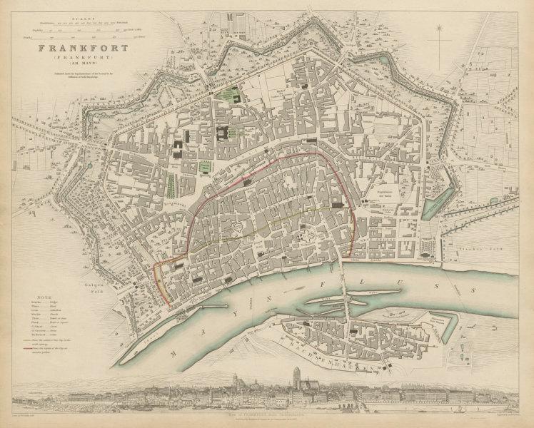 Associate Product FRANKFURT AM MAIN antique town city map plan. Panorama.am Mayn. SDUK 1844