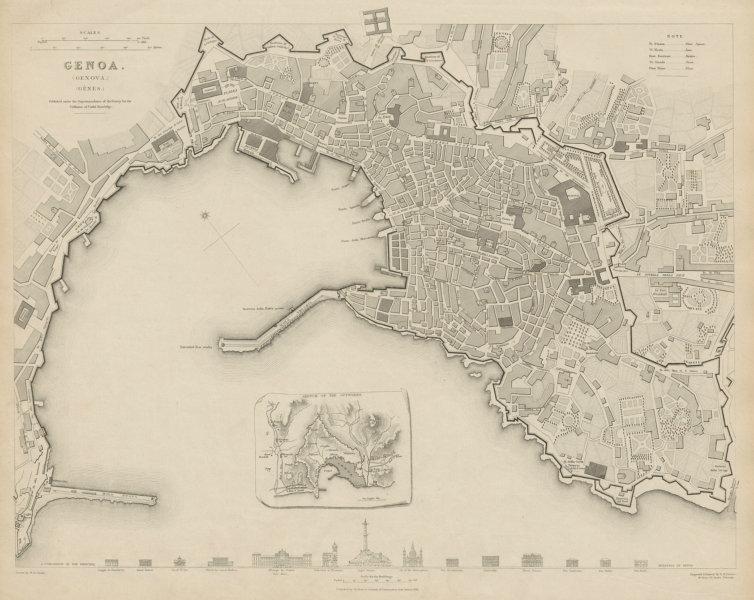 Associate Product GENOVA (GENOA GÊNES) GÈNES antique town city map plan.Inset outworks SDUK 1844